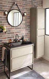 un miroir rond dans la salle de bains leroy merlin With miroir barbier salle de bain