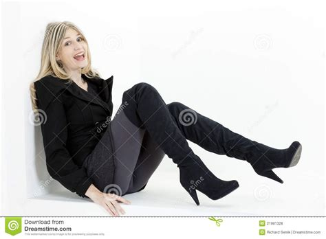 Woman Wearing Black Boots Stock Photo Image Of Positive