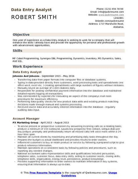 Data Entry Analyst Resume by Data Entry Analyst Resume Sles Qwikresume