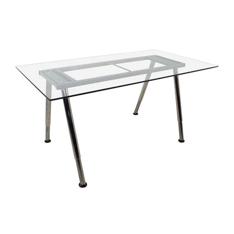 glass top trestle desk 52 off glass top trestle table with metal base tables