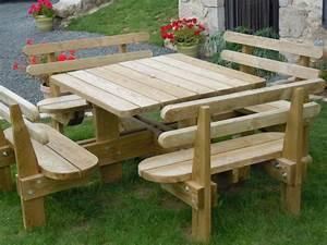 Table Banc Exterieur : table de jardin en bois avec banc menuiserie ~ Teatrodelosmanantiales.com Idées de Décoration