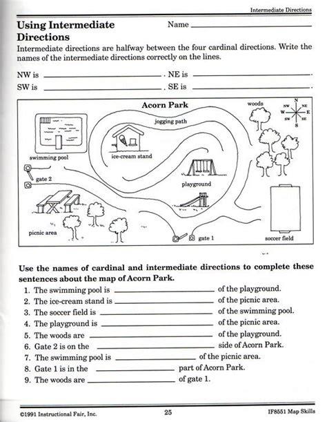 intermediate directions worksheet science map