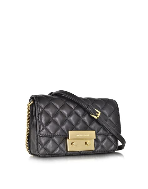 quilted crossbody bag lyst michael kors sloan black quilted leather chain