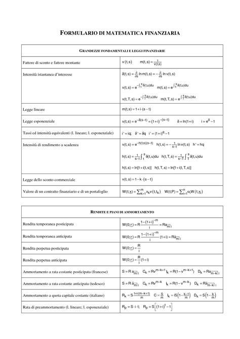Matematica Finanziaria Dispense by Matematica Finanziaria Formulario Dispense
