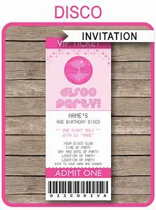 Template For Christmas Invitation Disco Party Ticket Invitations Birthday Party Template