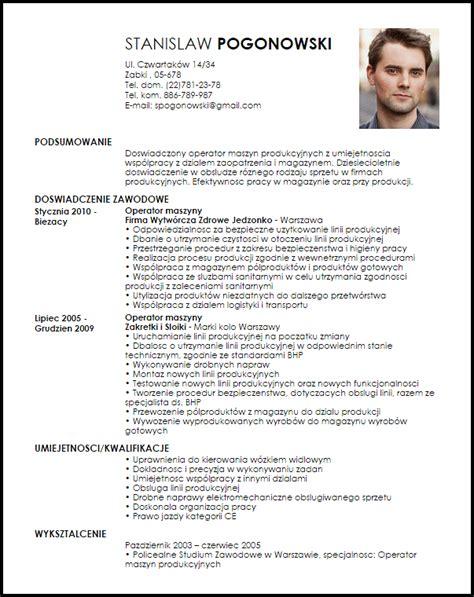 Curriculum Vitae For Computer Operator by Wz 243 R Cv Operator Maszyn Produkcyjnych Livecareer