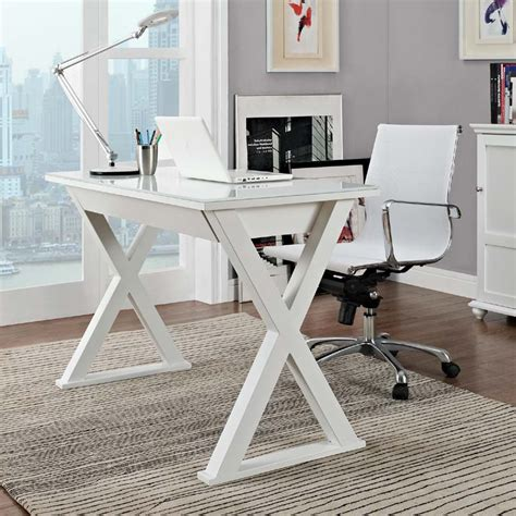 white and glass desk walker edison steel and glass xtra computer desk white