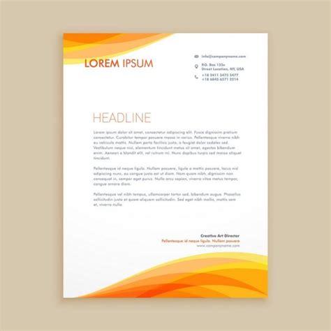 yellow wave creative letterhead template vector design