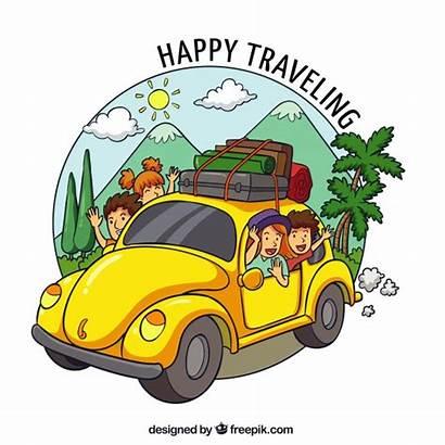 Vector Traveling Happy Freepik Holiday Drawn Hand