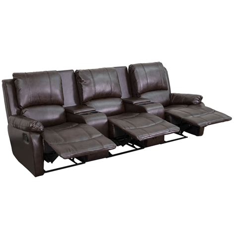theater with reclining seats 3 seat reclining pillow back brown leather theater
