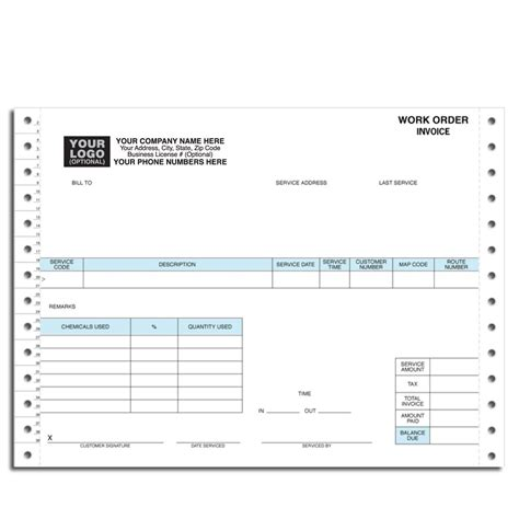 19885 work order form pest work order invoice continuous forms