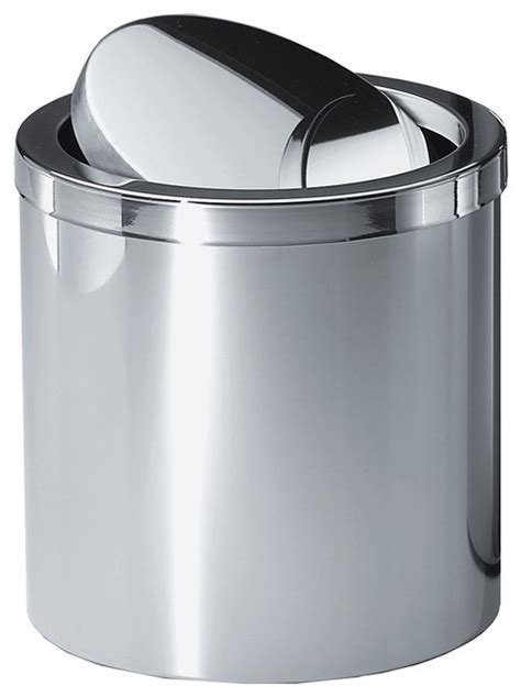 chrome bathroom trash can with lid dwba stainless steel wastebasket trash can with