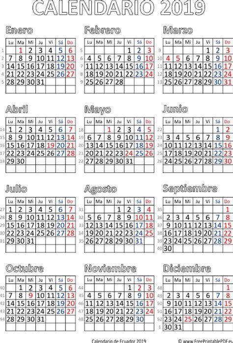 calendario de ecuador imprimir el gratis
