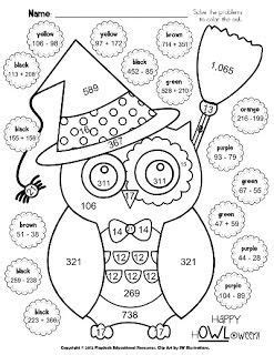 halloween owl math coloring sheet  images