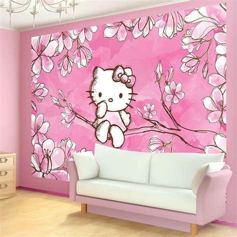 kitty cherry tree blossom photo wallpaper wall mural
