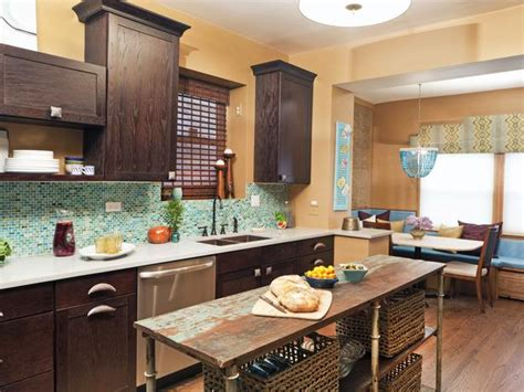 brown and turquoise kitchen eclectic kitchen with mosaic backsplash and breakfast nook hgtv