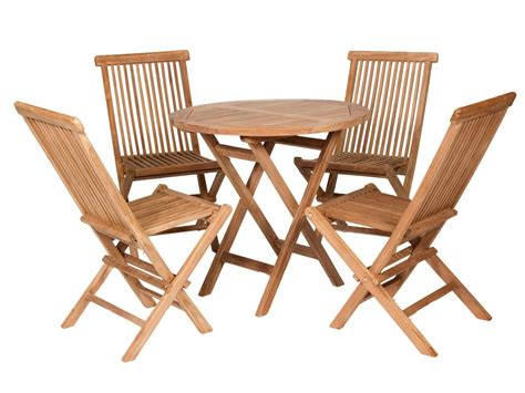 conjunto mesa  sillas jardin de teka natural