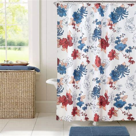Cottage Floral Fabric Shower Curtaininterdesign