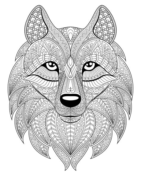 wolf head complex patterns wolves adult coloring pages