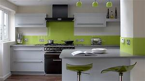 Modern kitchen in green color inspirations amusing white for Kitchen colors with white cabinets with rouleaux papier peint