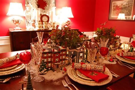 christmas table christmas table setting tablescape with dept 56 lit houses and lenox holiday china