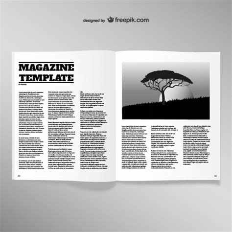 mag de gratis opened magazine blank page template vector free