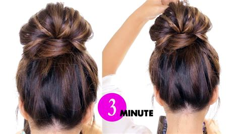Easy Hairstyles by 3 Minute Bun With Braids Hairstyle Easy