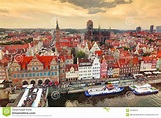 Top View On Gdansk Old Town And Motlawa River, Poland At ...