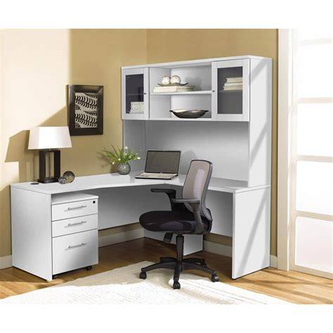 desk with hutch white modern white l shaped desk with hutch mobile pedestal