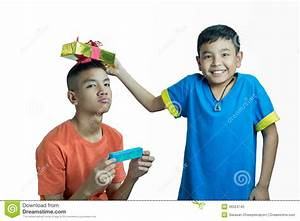 Happy Asian Kid Give Present To His Brother Stock Photo ...