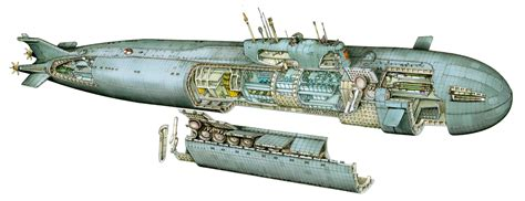 Russian submarine Kursk K-141 Cutaway Drawing in High quality