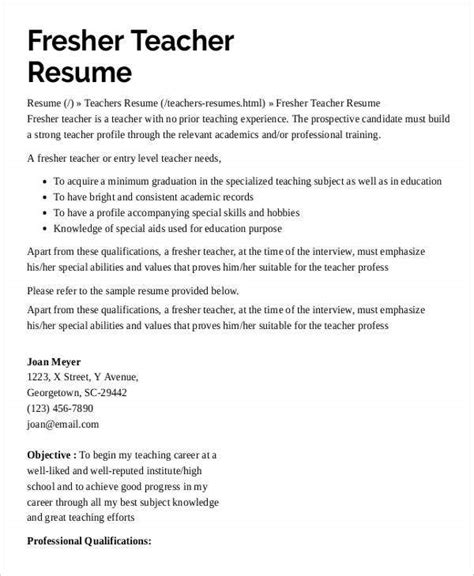 Sample job application for teacher with experience, without experience. Teacher Applicant Sample Resume For Teachers Without ...
