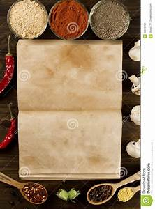 Open Old Vintage Book With Spices On Wooden Background ...