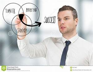Business Man Drawing Venn Diagram Doodle In Blurry Grey