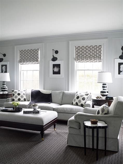 traditional white living room with black and gray accents