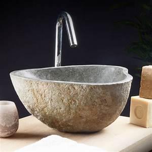 Lave Main Original : vasque en pierre de rivi re lave main style moderne ~ Edinachiropracticcenter.com Idées de Décoration