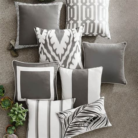 gray outdoor pillows sunbrella outdoor solid pillow cover with piping gray