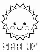 Coloring Sun Printable Pages Spring sketch template