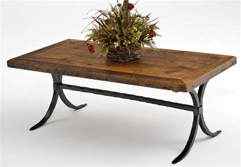 Rustic Wood Coffee Table, Forged Metal Base, Refined Western