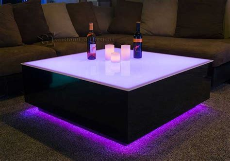 """This unique led coffee table can create beautiful atmosphere and will be a real focal point in my living room. Cubix Series - 44"""" x 44"""" LED Lighted Coffee Table 