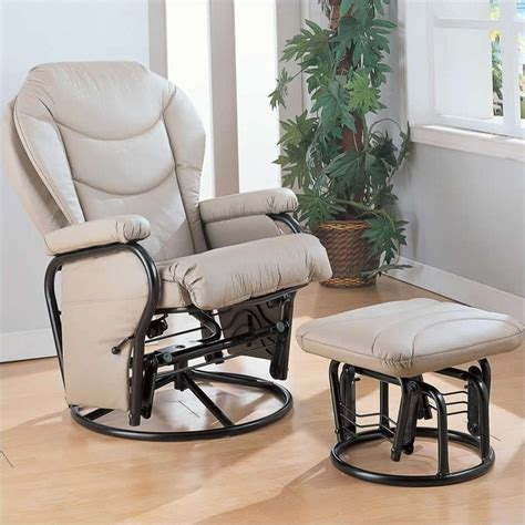 coaster faux leather recliner glider chair with ottoman in