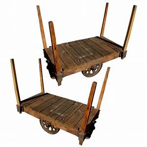 "48"" Pair Antique Wood Iron Industrial Rolling Cart 