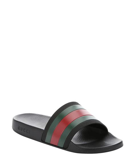 striped slippers gucci black and green web striped rubber slide sandals