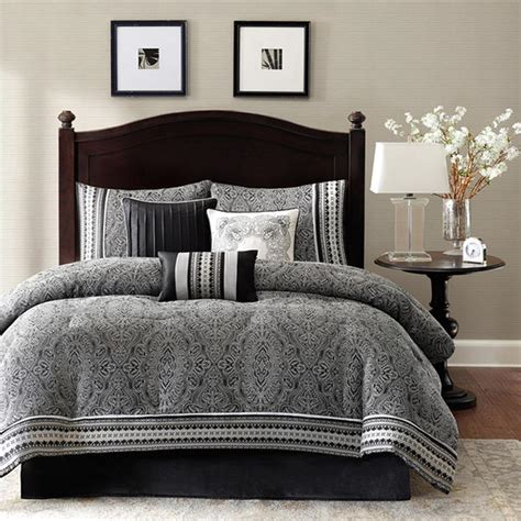 polyester jacquard 7 piece comforter set damask pattern