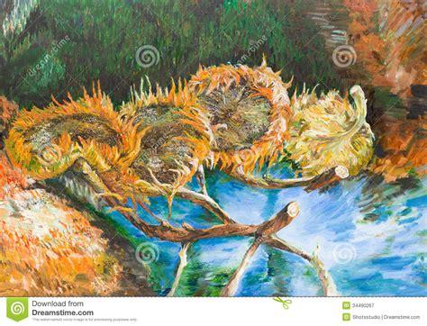Four Cut Sunflowers Vincent Van Gogh Editorial