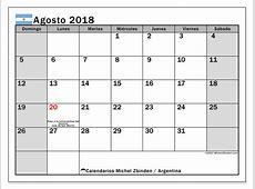 Calendario para imprimir agosto 2018 Días feriados en