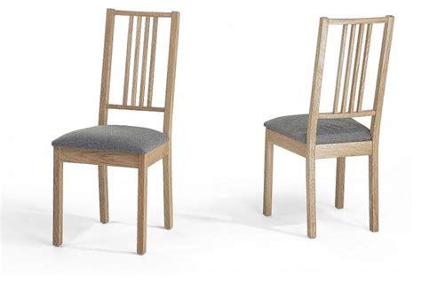 chaises de salle 224 manger lot de 2 chaises en bois et tissu gris chelsea contemporain