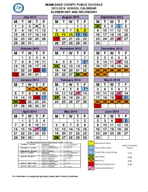 miami dade school calendar fill printable fillable