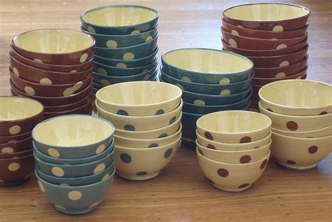 Check out our french coffee bowls selection for the very best in unique or custom, handmade pieces from our bowls shops. Buttery, rich polka dots dress up these French Coffee Bowls by Richard Esteban. #coffeebowls # ...