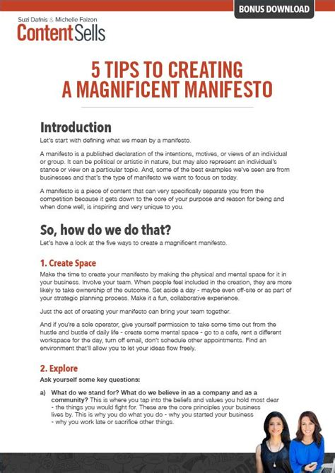 5 Tips To Creating A Magnificent Manifesto